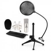 Auna CM001S Juego de micrófono V2 Micrófono de condensador Soporte para micrófono Protector antipop plateado (60002003-V2)