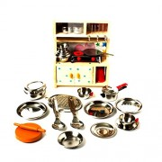 Cute Stainless Steel Kitchen Set with Cute Wooden Stand