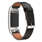Okosóra szíj - FEKETE - valódi bőr - Fitbit Charge 2