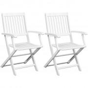 vidaXL Трапезни сгъваеми столове, 2 бр, акациево дърво, бели