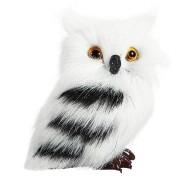 2 PCS Owl White Black Furry Christmas Ornament Decoration Toys Adornment Simulation