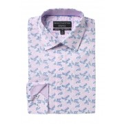 Report Collection Slim Fit Paisley Print Dress Shirt 24 PINK