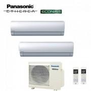 Panasonic Climatizzatore Condizionatore Panasonic Dual Split Inverter Etherea Silver 9000+9000 Con Cu-2e18sbe