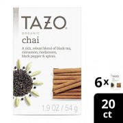 TAZO Organic Chai Black Tea Filterbags, 20 Count (Pack of 6)