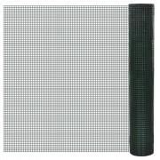 vidaXL Szögletes horganyzott Drótkerítés 1mx25m PVC-Bevonatú háló: 19x19mm