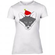 Fox with Santa Hat Women's T-Shirt - UK 8