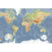 Werk aan de Muur Schilderij Wereldkaart, Klassiek - Canvas - 80x55