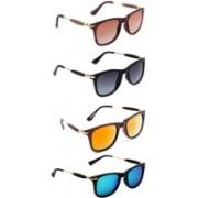 Aoking Wayfarer Sunglasses(Brown, Grey, Orange, Blue)