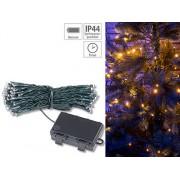 LED-Lichterkette mit 100 LEDs, Timer, Batterie, warmweiss, 10 m, IP44 | Lichterkette
