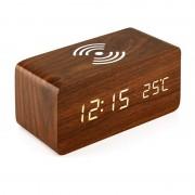 Qi Wireless Charging Pad Wood Grain Sound Control Led Digital Alarm Clock