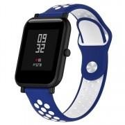 Huawei Dubbele kleur siliconen Sport polsband voor Huawei Watch serie 1 18mm (blauw wit)
