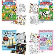 Childrens Sticker Activity Books - Pack of 4 Books 8.25 x 11.5 - Farm Animal Stickers Princess Pirates Horse Farm Animals Activity Sticker Book