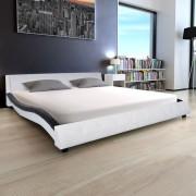vidaXL 180x200 cm-es fekete és fehér műbőr ágy memóriahabos matraccal