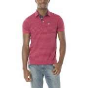 US Polo Assn SLIM FIT JERSEY STRIPED POLO SHIRT RED HEATHER