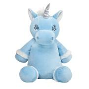 TeddyPost Blå enhörning mjukisdjur med namn, 40 cm