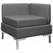 vidaXL Модулен ъглов диван с възглавница, текстил, тъмносив