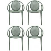 Pedrali Remind 3735 Tuinstoel&Terrasstoel - Set Van 4 - Groen Kunststof