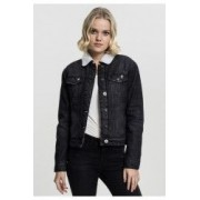 Geaca sherpa denim jacket dama - Urban Classics - NEGRU-WASHED