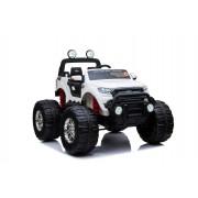Ford Ranger Monster Truck 4X4, mașină electrică albă, Telecomandă 2.4Ghz, Pornire lentă, intrare USB / Radio/SD/MP3 cu conectivitate Bluetooth, indicator capacitate baterie, roti uriașe EVA, suspensie, LED-uri, baterie