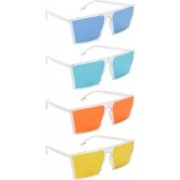 NuVew Retro Square, Wayfarer Sunglasses(Blue, Green, Orange, Yellow)