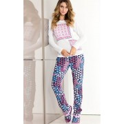 Pijama Feminino Mixte Adulto Manga Longa com Calça Estampa Patchwork