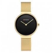 CURREN Damski zegarek CURREN na złotej bransolecie - czarna tarcza