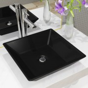 vidaXL Handfat keramik fyrkantig svart 41,5x41,5x12 cm