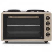 Мини готварска печка Finlux FMO-422VAN, 42 литра обем на фурната, 2 котлона, Златист