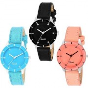 7star Orange Blue and Brown combo watches for women Watch