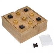 Toolart® Wooden Game Set of 2 Games Tic Tac Toe Puzzle and Solitaire Board Game 8 inch