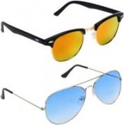 Royalmede Aviator, Clubmaster Sunglasses(Multicolor, Blue)