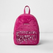 River Island Girls Pink faux fur front sequin backpack