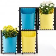 Set 4 ghivece cu suport perete-bleu si galben