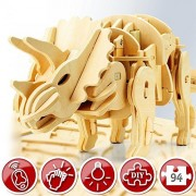 TOY SALE - WALKING TRICERATOPS Dinosaur 3D Puzzle Wooden Robot - Sound Activated - Top Gift for Kids - Building Craft Puzzles - Children 6 7 8 Year Olds Up - Best Educational Gifts for Boys and Girls by Wowood