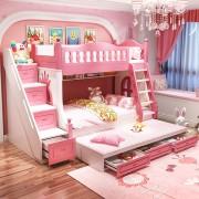 Paturi supraetajate Corel Roz din lemn masiv si MDF, cu 3 sertare pentru depozitare, scara si dulap depozitare 4 sertare pentru dormitor copii cod A08R