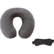 Flymoon Valvet U Shape Neck Pillow With built-in elastic strap and Blind Sleeping Eye Mask for Men Women Girls Boys Kids- Combo(Gery) Neck Pillow & Eye Shade(Gray)