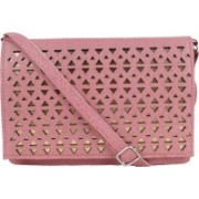 AANIA HAUTE Women Casual Pink Leatherette, PU, Cotton Sling Bag