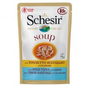 6х85г Soup Schesir, консервирана храна за котки - дива розова сьомга с моркови