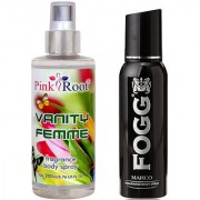 Fogg Marco Fragrant Body Spray 100ml and Pink Root Vanity Femme Fragrance body Spray 200ml Pack of 2