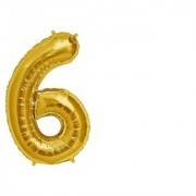 Stylewell Solid Golden Color Single Number Six (6) 3d Foil Balloon for Birthday Celebration Anniversary Parties