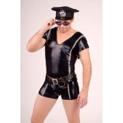 Andalea Police V Neck T Shirt & Boxer Brief Costume Black MC-9045