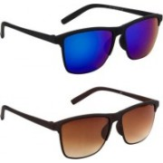 Honey Boney Clubmaster Sunglasses(Blue, Brown)
