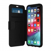 Griffin Survivor Strong Wallet - удароустойчив хибриден кожен калъф с отделение за карти за iPhone XS Max (черен-сив)