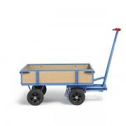 EUROKRAFT2 EUROKRAFT Handpritschenwagen - Tragfähigkeit 500 kg, mit 4 Bordwänden - Ladefläche 1010 x 660 mm, Vollgummireifen