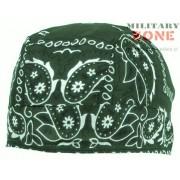 Chusta na głowę - Headwrap, zielona z nadrukiem