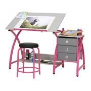 Studio Designs Comet Center Mesa de dibujo con taburete, rosado/salpicaduras en gris