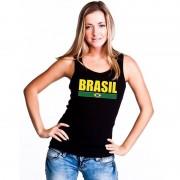 Bellatio Decorations Zwart Brazilie supporter singlet shirt/ tanktop dames