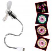Mini Gooseneck Portable USB Fan with LED Light