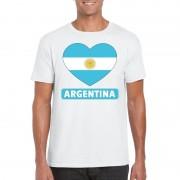 Bellatio Decorations Argentijnse vlag in hartje shirt wit heren