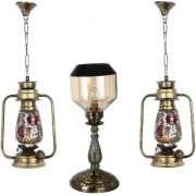 Somil Combo Antique & Designer Hanging Lantern Lamps & Table Lamp With Decorative Colorful Glass A Complete Unique Decorative Set